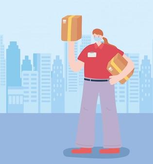 Dank u essentiële arbeiders, bezorgvrouw met dozen, het dragen van gezichtsmasker, coronavirus ziekte illustratie