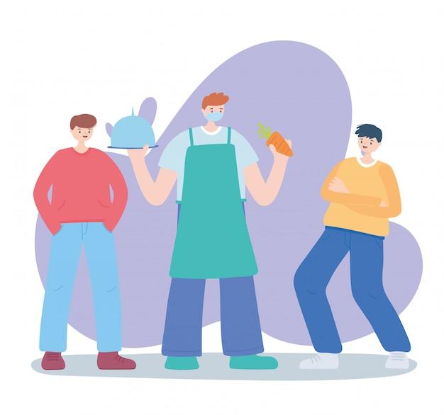 Dank u essentiële arbeiders, boer met schotel wortel en jonge mannen, coronavirus ziekte illustratie