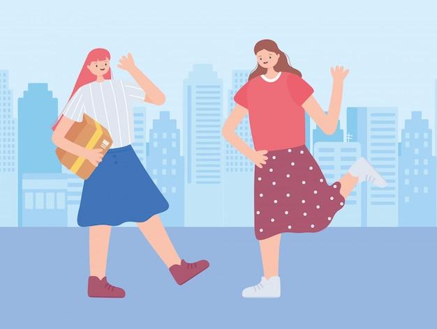 Dank u essentiële arbeiders, gelukkige meisjes met kartonnen doos, coronavirus ziekte illustratie