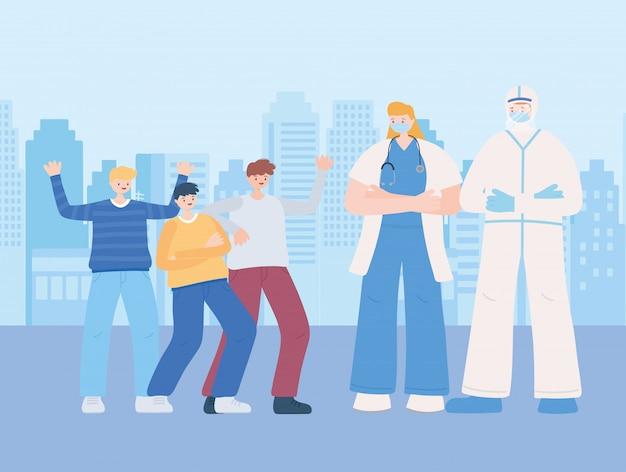 Dank u essentiële arbeiders, medisch personeel met beschermend pak en groepsmensen, coronavirusziekteillustratie