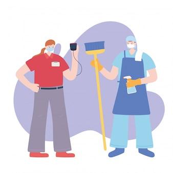 Dank u essentiële arbeiders, schonere man en bezorgende vrouw met gezichtsmaskers, verschillende beroepen, coronavirus ziekte illustratie