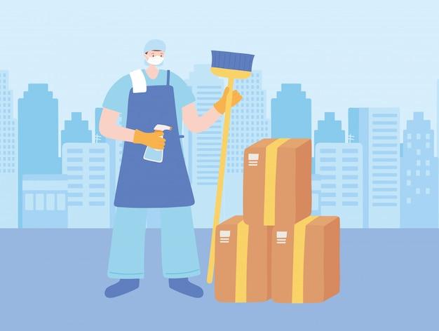 Dank u essentiële arbeiders, schonere man met bezem en kartonnen dozen, het dragen van gezichtsmaskers, coronavirus ziekte illustratie