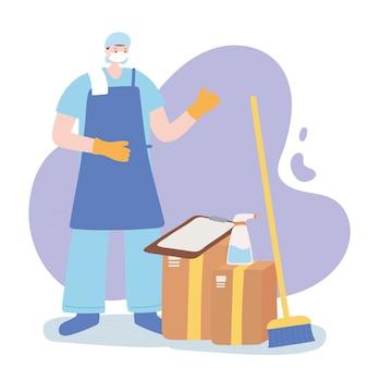 Dank u essentiële arbeiders, schonere man met bromspray en dozen, het dragen van gezichtsmasker, coronavirus ziekte illustratie
