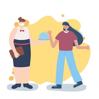 Dank u essentiële arbeiders, serveerster met schotel en klant, het dragen van gezichtsmasker, coronavirus ziekte illustratie