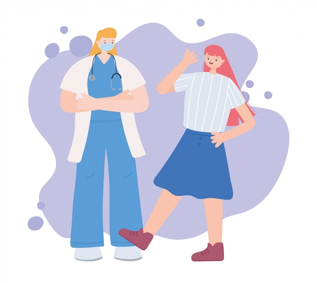 Dank u essentiële arbeiders, vrouwelijke arts met gelukkig meisje, het dragen van gezichtsmasker, coronavirus ziekte illustratie
