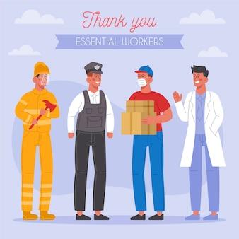 Dank u essentiële geïllustreerde arbeiders