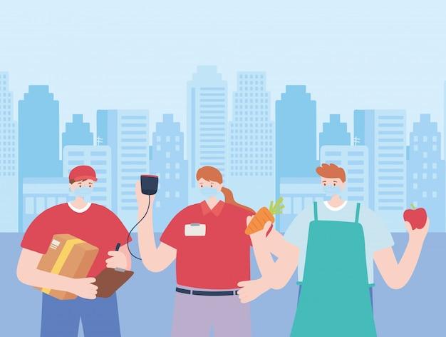 Dank u essentiële werknemers, groepsbezorgers en boer, het dragen van gezichtsmaskers, coronavirus ziekte illustratie