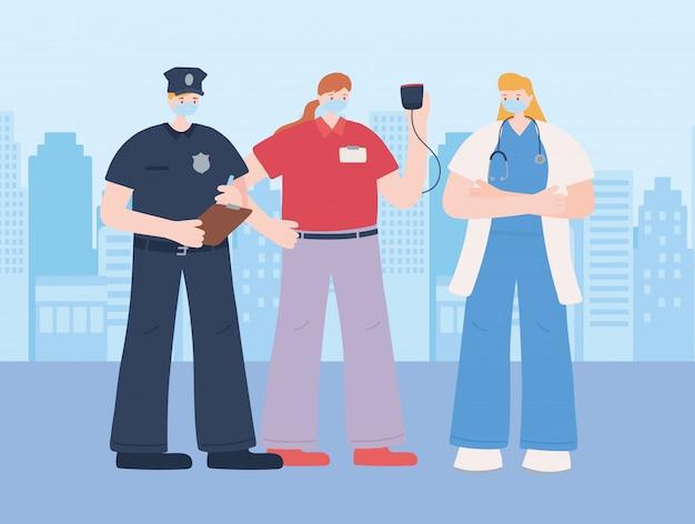 Dank u essentiële werknemers, het dragen van gezichtsmaskers, verschillende beroepen, illustratie van de coronavirusziekte