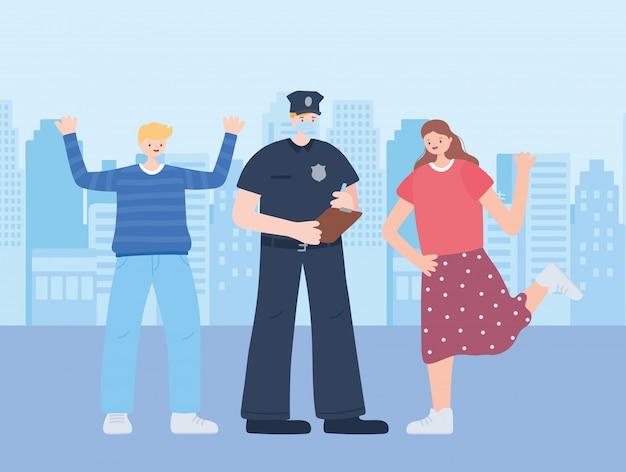 Dank u essentiële werknemers, politieagent met masker en gelukkige mensen, coronavirus ziekte illustratie