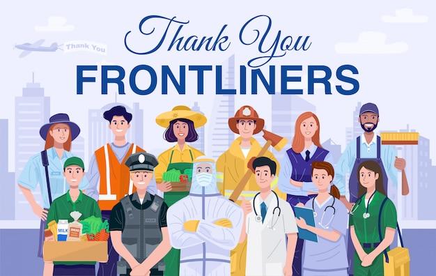 Dank u frontliners concept. diverse beroepen mensen.