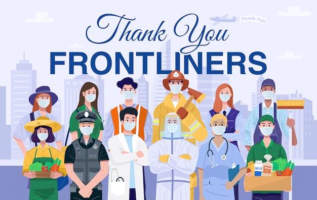 Dank u frontliners concept. verschillende beroepen mensen die beschermende maskers dragen.