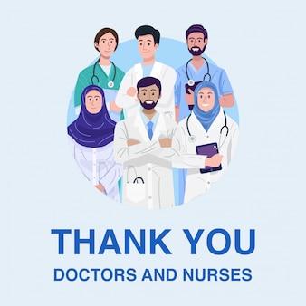 Dank u frontliners, illustratie van islamitische artsen en verpleegsters banner.