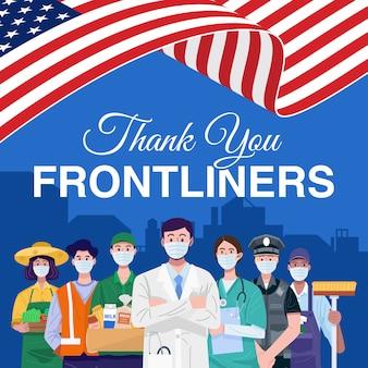 Dank u frontliners. verschillende beroepen mensen staan met amerikaanse vlag. vector