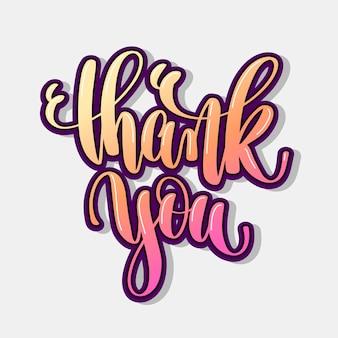Dank u hand belettering positieve offerte, kalligrafie