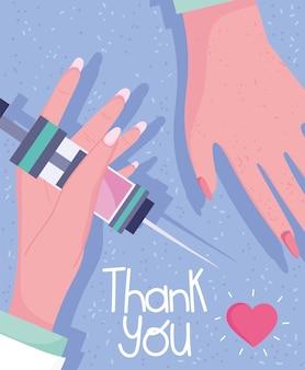 Dank u, handen vrouwelijke arts met spuit medische apparatuur illustratie