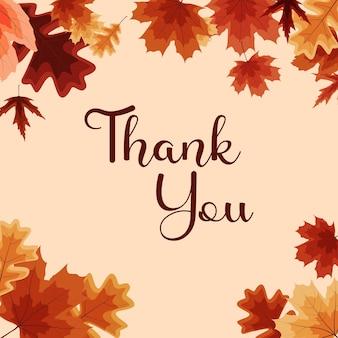 Dank u herfst natuurlijke achtergrond sjabloon met vallende bladeren vector illustratie