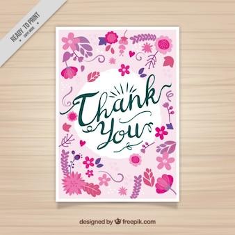 Dank u kaarden met roze bloemen