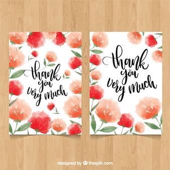 Dank u kaart met rode bloemen