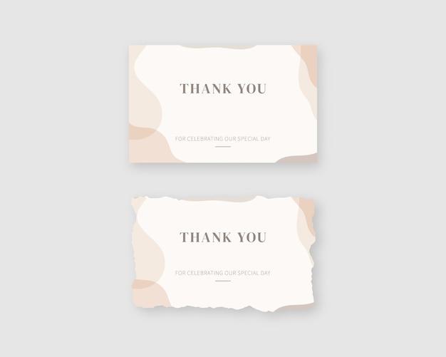Dank u kaarten sjabloon. set van moderne bedankkaart. sjabloon ontwerp. realistisch