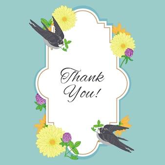 Dank u kaartframe met vintage bloemen en vogels