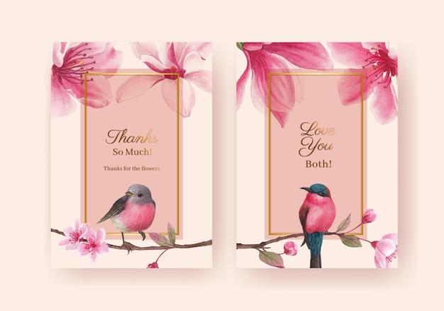 Dank u kaartsjabloon met bloesem vogel conceptontwerp aquarel illustratie