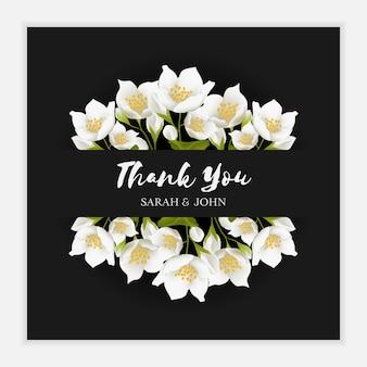 Dank u kaartsjabloon met jasmijn bloem ornament