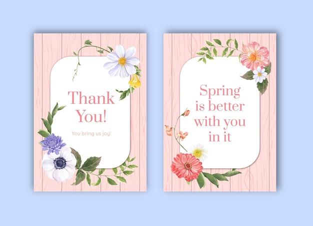 Dank u kaartsjabloon met lente heldere concept aquarel illustratie