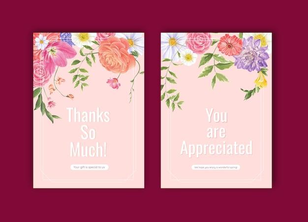 Dank u kaartsjabloon met lente heldere concept aquarel illustratie Premium Vector