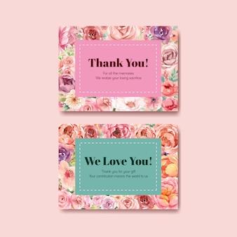 Dank u kaartsjabloon met liefde bloeiende conceptontwerp aquarel illustratie