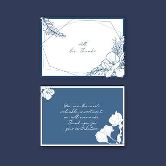 Dank u kaartsjabloon met lijntekeningen bloem