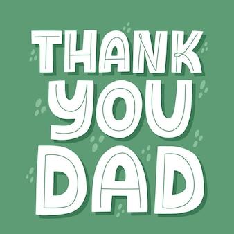 Dank u papa citaat. hand getekende vector belettering. gelukkig vaderdagconcept voor een kaart, t-shirt, poster