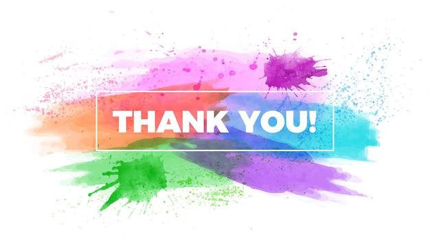 Dank u titelaquarel infographic presentatie dia sjabloon penseelstreken banner