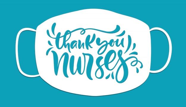 Dank u verpleegkundigen belettering tekst, illustratie voor de internationale dag van de verpleegkundigen