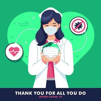 Dank u verpleegster platte ontwerp illustratie