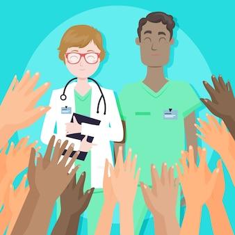 Dank u verpleegsters en artsontwerp