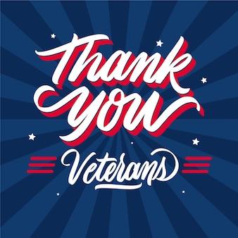 Dank u veteranen belettering van ontwerp