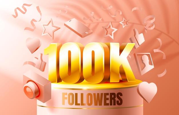 Dank u volgelingen volkeren k online sociale groep gelukkig banner vieren vector