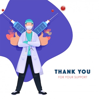 Dank u voor uw steun. dokter draagt medisch masker, handschoenen met gelaatsscherm en spuiten tegen het coronavirus (covid-19).