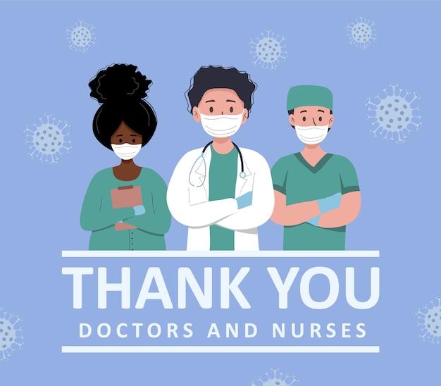 Dankbaarheid aan artsen en verpleegstersillustratie
