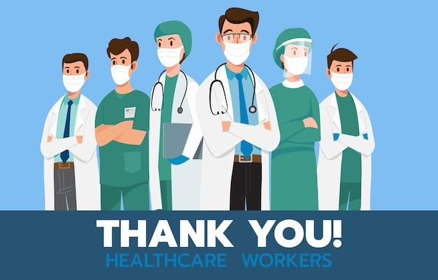 Dankjewel, dappere gezondheidszorg die werkt aan de strijd tegen covid-19 coronavirusinfectie.