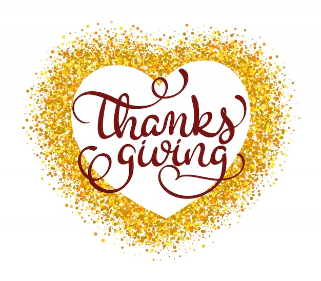 Dankzeggingswoord op goud in vorm van hart.