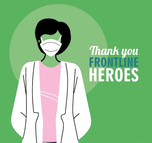 Dankzij de frontliniehelden. arts die masker draagt