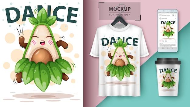 Dans avocado illustratie
