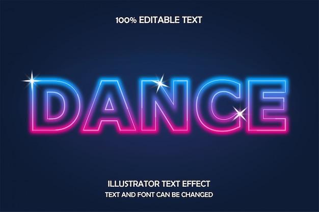 Dans, bewerkbare teksteffect neonstijl