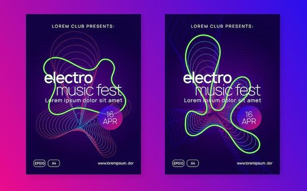 Dans flyer. dynamische gradiëntvorm en lijn. moderne showbanner set. neondansvlieger. electro trance muziek. techno dj-feest. elektronisch geluidsevenement. clubfeest poster.