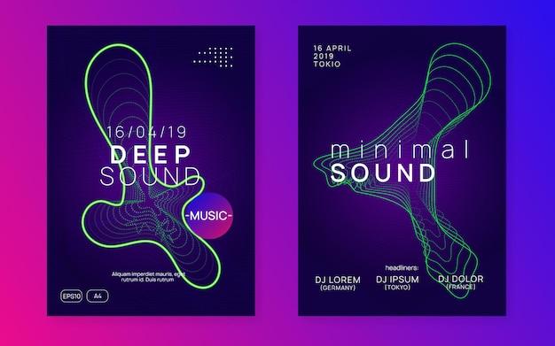 Dans flyer. dynamische vloeiende vorm en lijn. moderne concertbannerset. neondansvlieger. electro trance muziek. techno dj-feest. elektronisch geluidsevenement. clubfeest poster.
