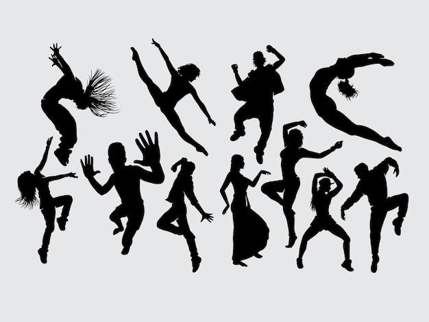 Dans mannelijk en vrouwelijk gebaar silhouet