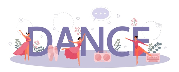 Dans of choreografie typografisch koptekst concept. dansen
