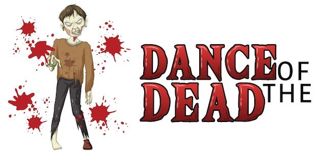 Dans van het dode tekstontwerp met griezelige zombie