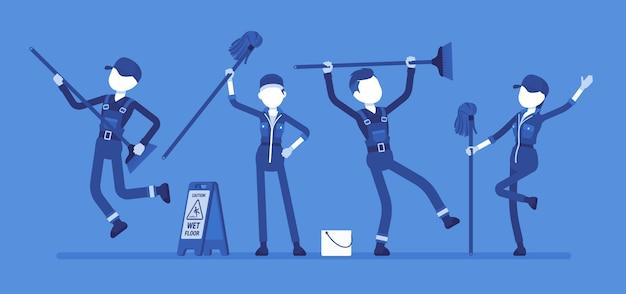 Dansend conciërgeteam. jonge mensen in uniform met plezier om openbare ruimtes schoon te maken, schoonmaak en zorg voor huis en kantoor. illustratie met gezichtsloze karakters
